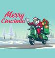 happy santa claus riding vintage scooter vector image vector image