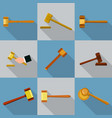 judge hammer icons set flat style vector image