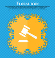judge or auction hammer icon Floral flat design on vector image