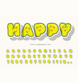 kawaii bubble font with funny smiling faces cute vector image vector image