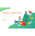 merry christmas - modern colorful isometric web vector image