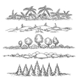 Nature line landscape set vector image