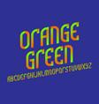 orange green alphabet stylish gradient font vector image vector image