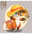 Pensive Fox in the hat with Lollipop vector image vector image