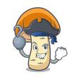 pirate orange cap boletus mushroom character vector image vector image