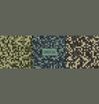 pixel style camouflage pattern texture design set vector image vector image