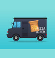 pizza delivery local delivery van flat design vector image