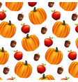 pumpkin apple acorn autumn pattern vector image