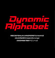 red sport dynamic font with numbers vector image vector image