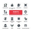 robots concept - line design style icons set vector image vector image