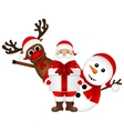 Santa Claus with snowman and reindeer cartoon vector image vector image