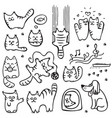 scetched doodle cat vector image vector image