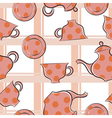 Seamless texture with cups and coffee pot vector image vector image