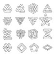set impossible shapes optical vector image vector image