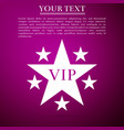 star vip with circle of stars on purple background vector image