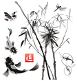 Stencils birds fish and plants in the eastern vector image
