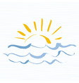 sun and sea logo icon handmade grunge icon vector image