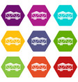 train cargo wagon icon set color hexahedron vector image vector image
