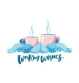 two mugs in scarf cozy composition 2 cups vector image