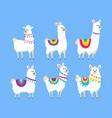 variety cute alpaca set vector image vector image