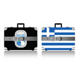 vintage suitcase set with greece flag vector image vector image