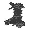 wales map labelled black vector image vector image