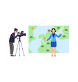 weather forecast woman reporter standing on vector image