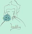 Wedding card with contour sketch of bride vector image