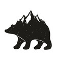 with black bear silhouette and mountains snow vector image
