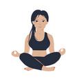 young slim girl practicing yoga meditation vector image