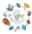 Data protection and safe work vector image