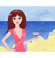 girl beach2 vector image