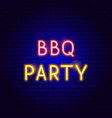bbq party neon text vector image vector image