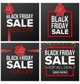 black friday sale banner set cartoon vector image