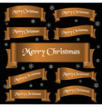 bronze shiny color merry christmas slogan curved vector image vector image