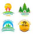 camping recreation clean forest icons vector image