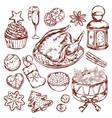 Christmas Food Menu Sketch vector image