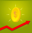 coin with graph arrow up growth of financial and vector image vector image