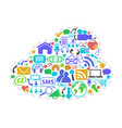 color social network icons in cloud shape vector image vector image
