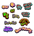 comic patch text signs vector image vector image