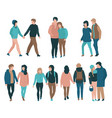 couples set - young men and vector image