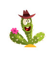 creen cactus character with hat and flower vector image
