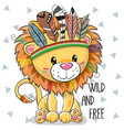 cute cartoon tribal lion with feathers vector image