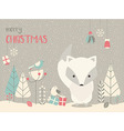Cute Christmas Arctic baby fox floral decoration vector image vector image