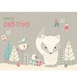cute christmas arctic bafox floral decoration vector image vector image