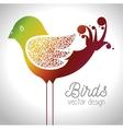 cute ornamental bird icon vector image vector image