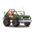 driver man controls suv car vector image vector image