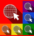 earth globe with cursor set of icons with vector image vector image