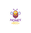 flat cartoon character honey bee icon logo doodle vector image vector image