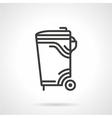 Garbage bin black line icon vector image vector image